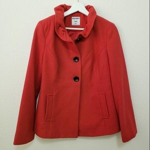 Old Navy Pea Coat Ruffle Collar Red Size Medium